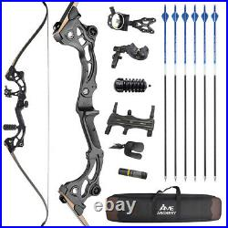 64 Takedown Recurve Bow 30-55lbs Fishing Hunting Archery Carbon Arrows Target