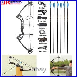 Compound Bow & Arrows Set 30-60lbs Adjustable Archery Shooting Hunting Tool UK