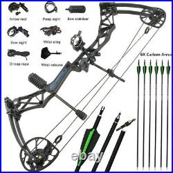 Compound Bow Arrows Set 50-70lbs Adjustable Aluminum Archery Hunting IBO 320FPS