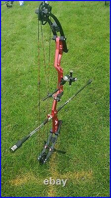 Mybo Origin Compound Bow Sold Bare Red. 27 draw at 46lb currently