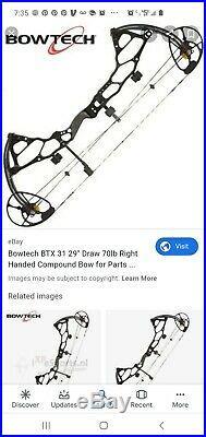 New Bowtech BTX 28 70 lb RH Blck Ops 25.5 to 28 leng built 2019 with2019 limbs